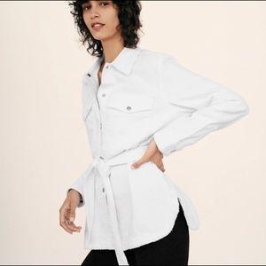 Zara White Denim ButtonDown Shirt Belted Jacket S
